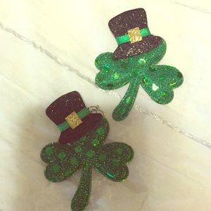 Shamrock earrings with sparkle and bling